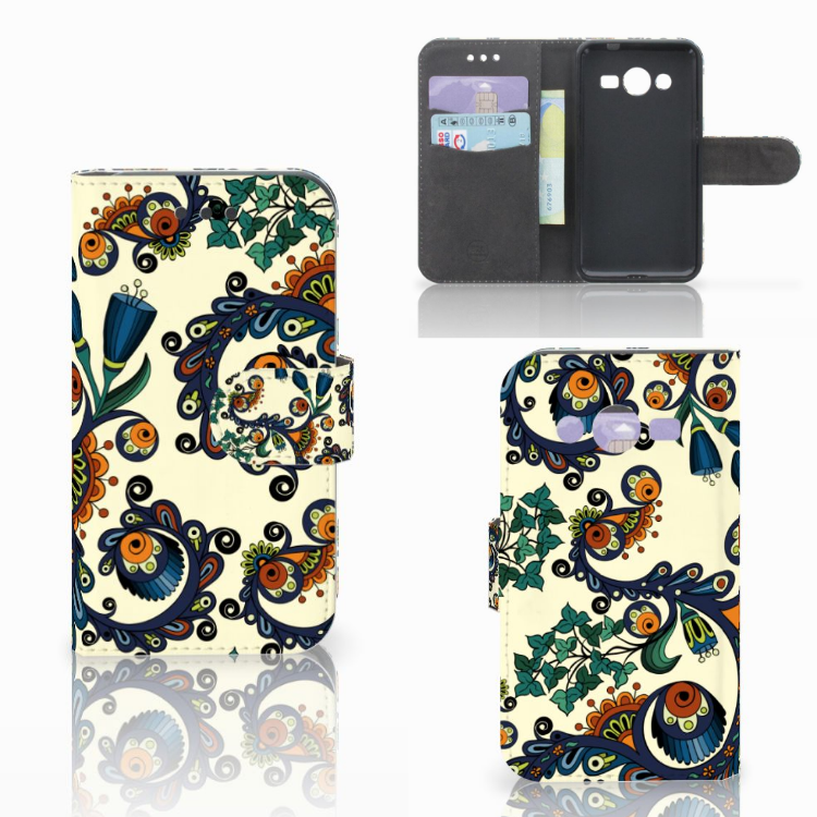 Wallet Case Samsung Galaxy Core 2 Barok Flower