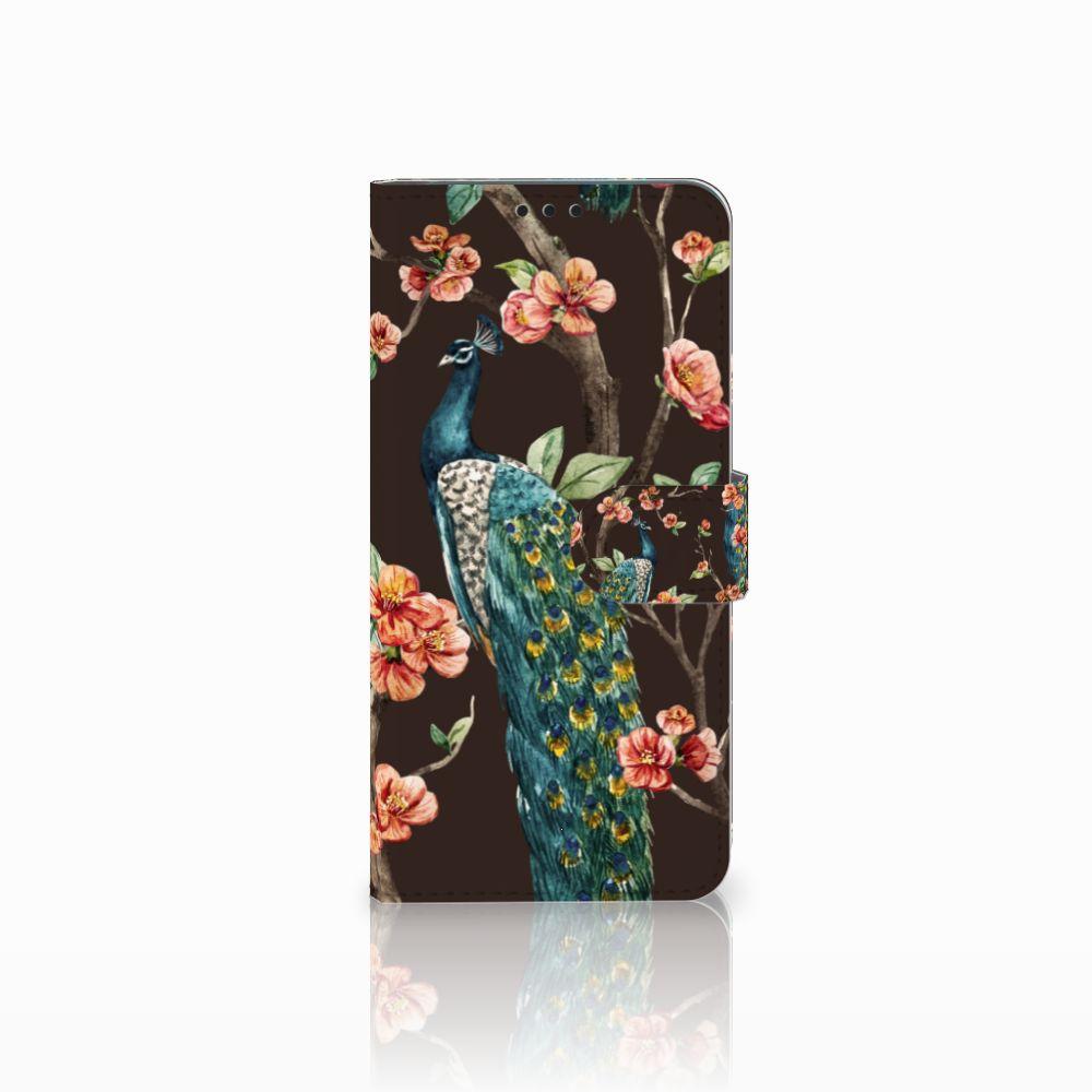 Huawei P Smart Plus Boekhoesje Design Pauw met Bloemen