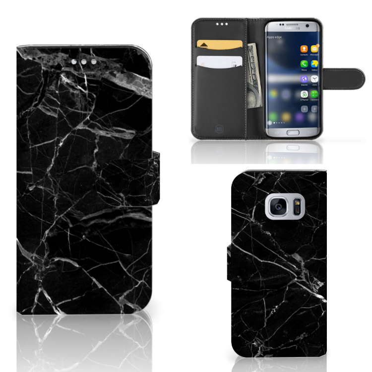 Samsung Galaxy S7 Bookcase Marmer Zwart - Origineel Cadeau Vader