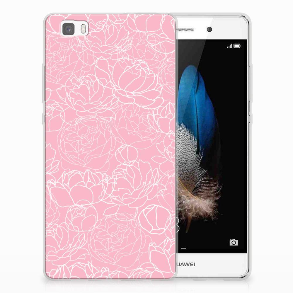 Huawei Ascend P8 Lite TPU Hoesje Design White Flowers