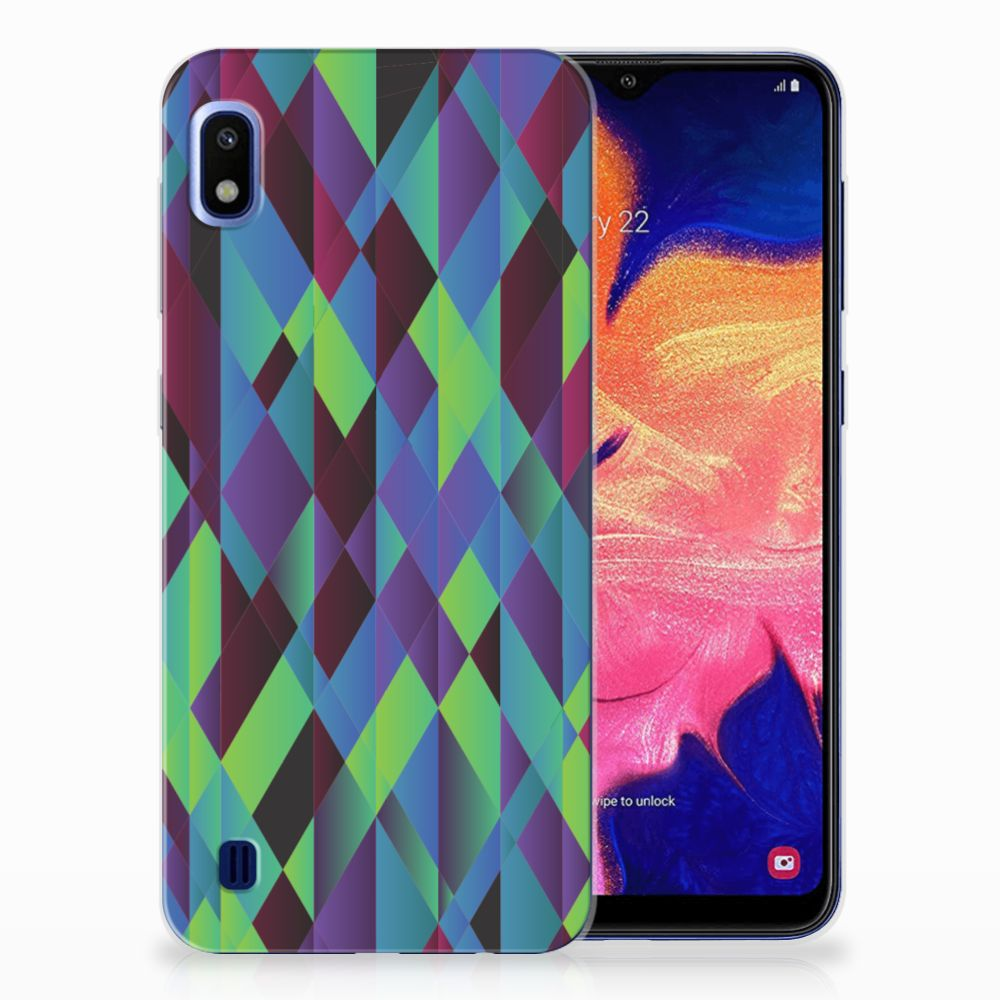 Samsung Galaxy A10 TPU Hoesje Abstract Green Blue