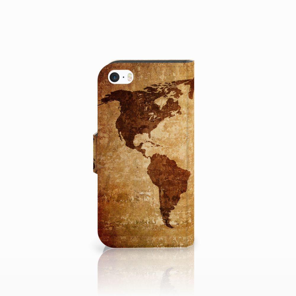 Apple iPhone 5 | 5s | SE Flip Cover Wereldkaart