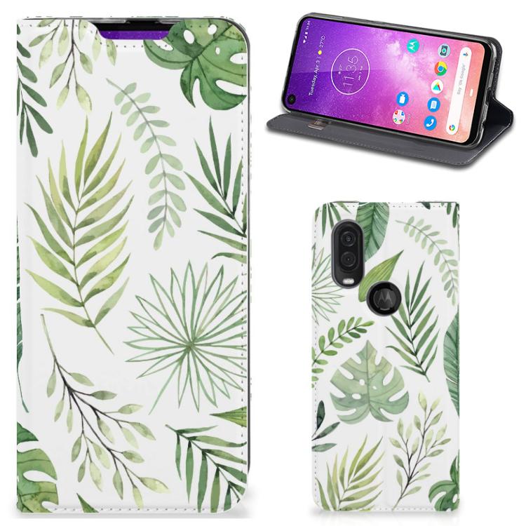 Motorola One Vision Smart Cover Leaves