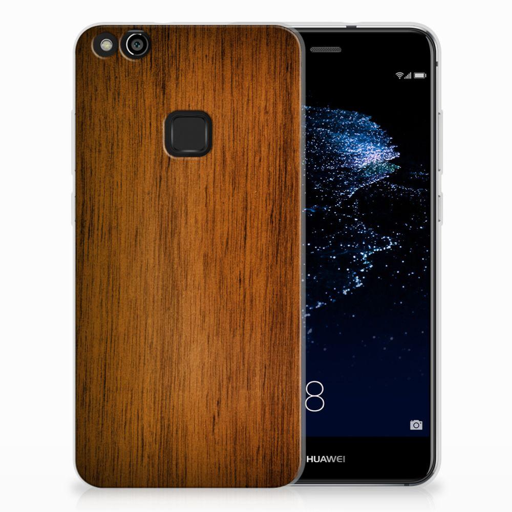 Huawei P10 Lite Uniek TPU Hoesje Donker Hout
