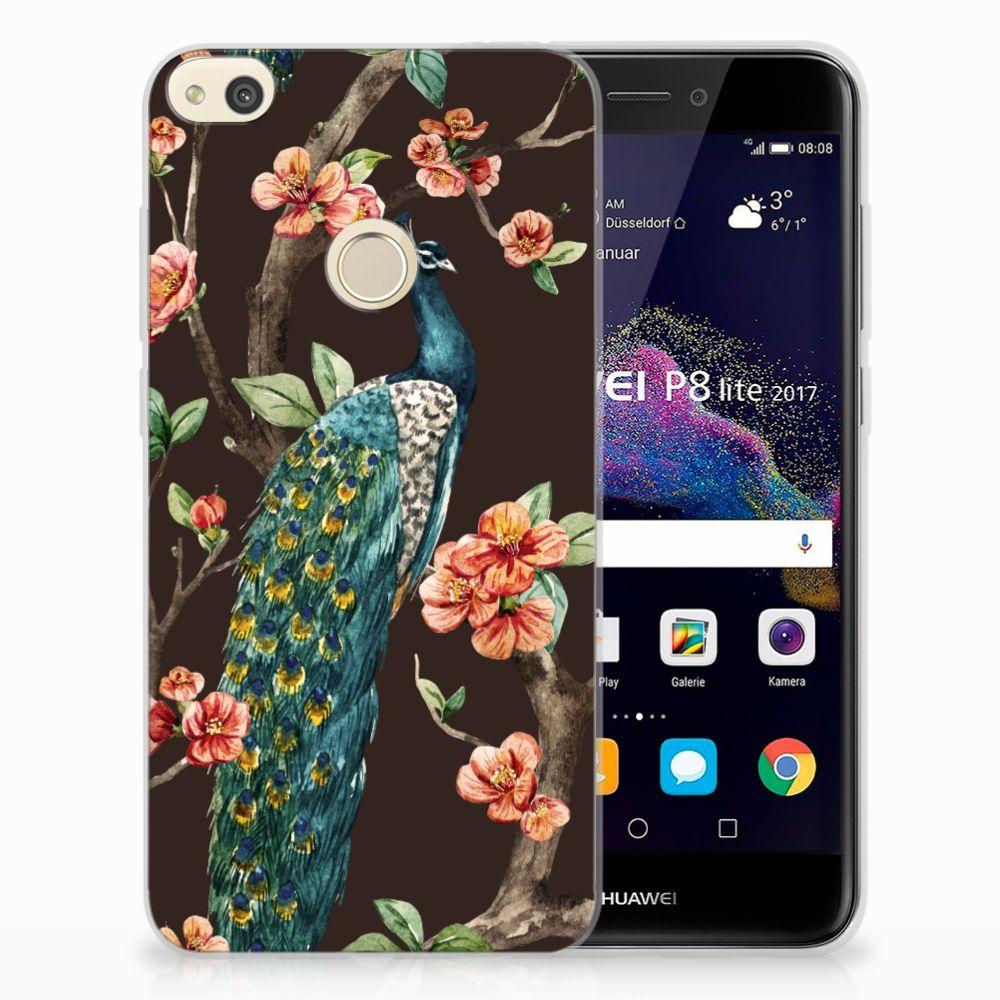 Huawei P8 Lite 2017 TPU Hoesje Design Pauw met Bloemen