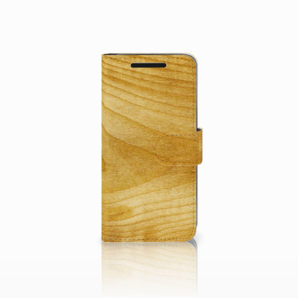 HTC One M9 Uniek Boekhoesje Licht Hout