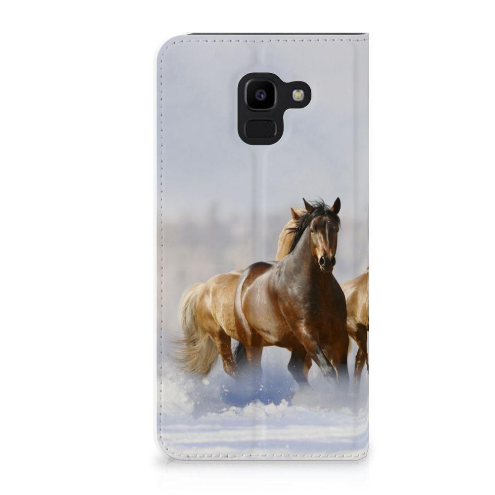 Samsung Galaxy J6 (2018) Uniek Standcase Hoesje Paarden