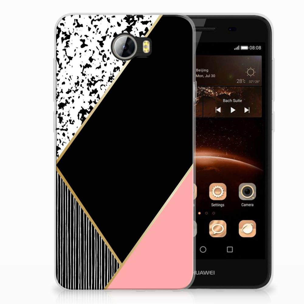 Huawai Y5 II | Y6 II Compact Uniek TPU Hoesje Black Pink Shapes