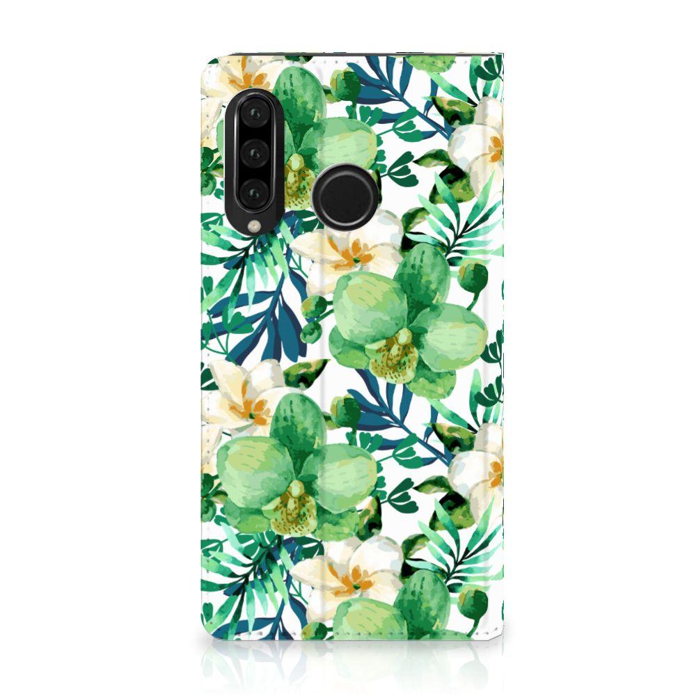 Huawei P30 Lite Uniek Standcase Hoesje Orchidee Groen