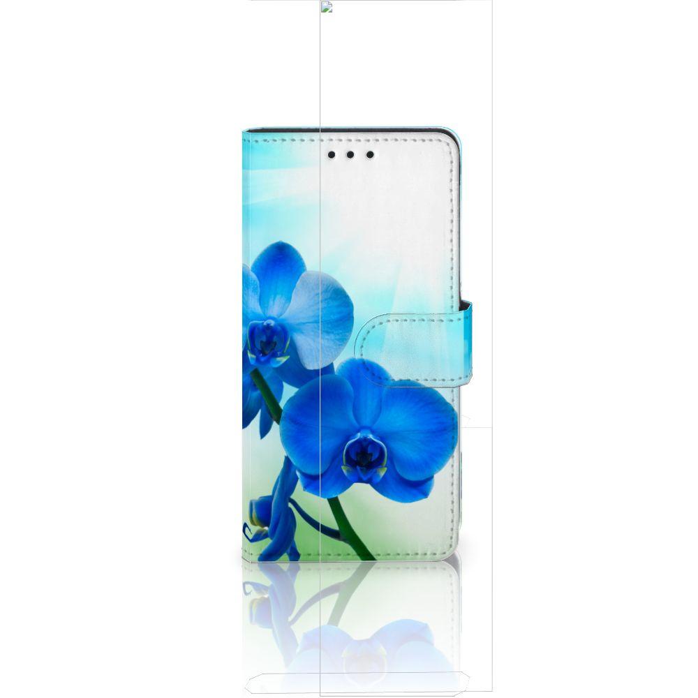 Huawei Ascend P8 Lite Boekhoesje Design Orchidee Blauw