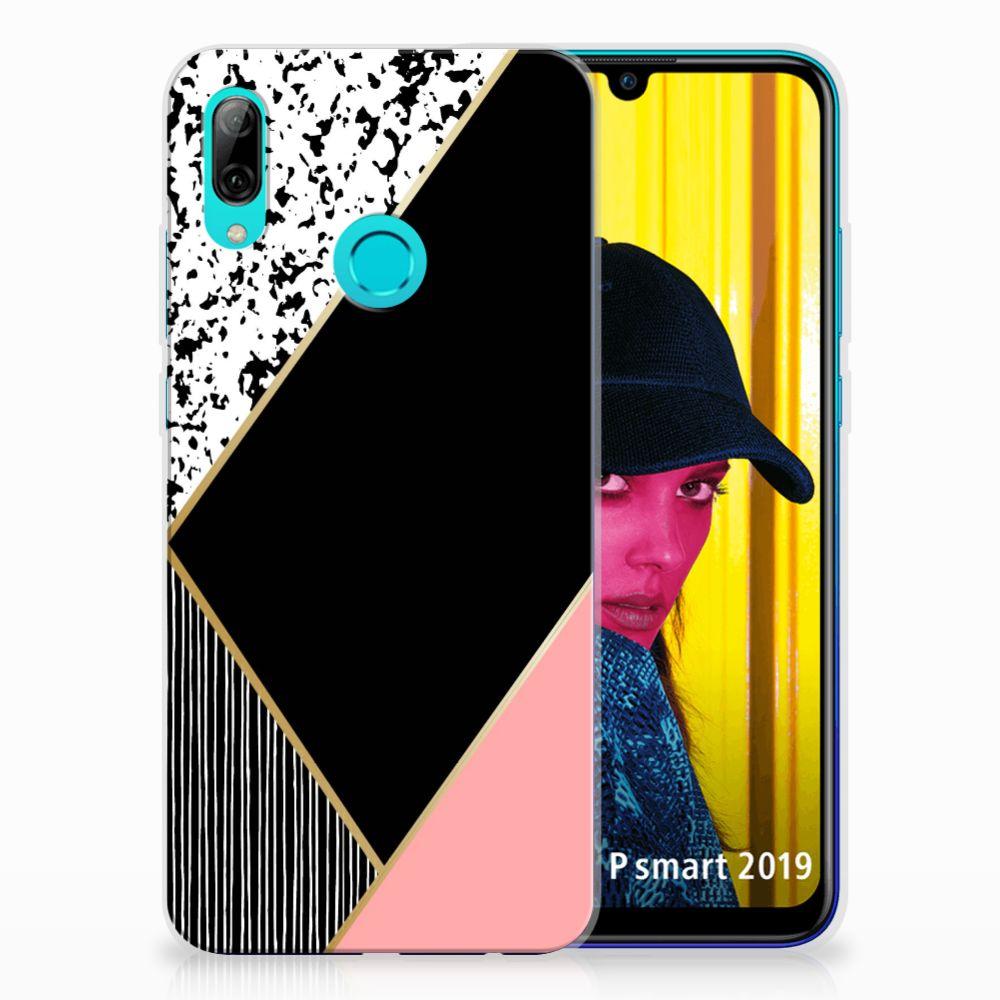 Huawei P Smart 2019 TPU Hoesje Zwart Roze Vormen