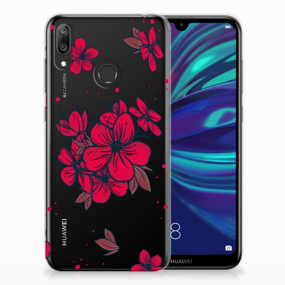 Huawei Y7 2019 TPU Hoesje Design Blossom Red