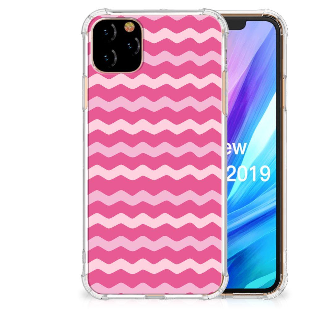 Apple iPhone 11 Pro Max Doorzichtige Silicone Hoesje Waves Pink