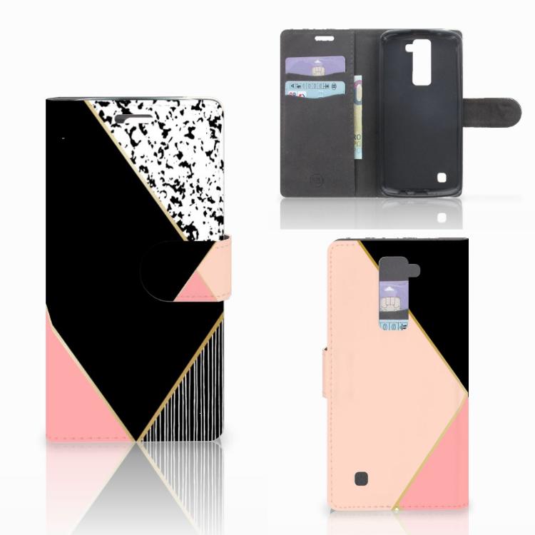 LG K10 2015 Bookcase Zwart Roze Vormen