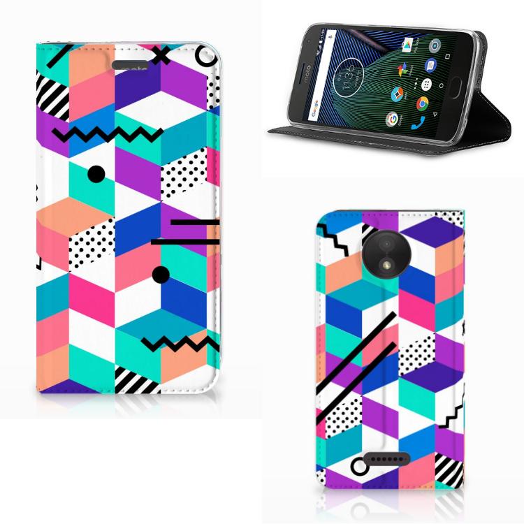 Motorola Moto C Plus Stand Case Blokken Kleurrijk