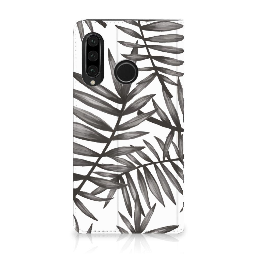 Huawei P30 Lite Uniek Standcase Hoesje Leaves Grey