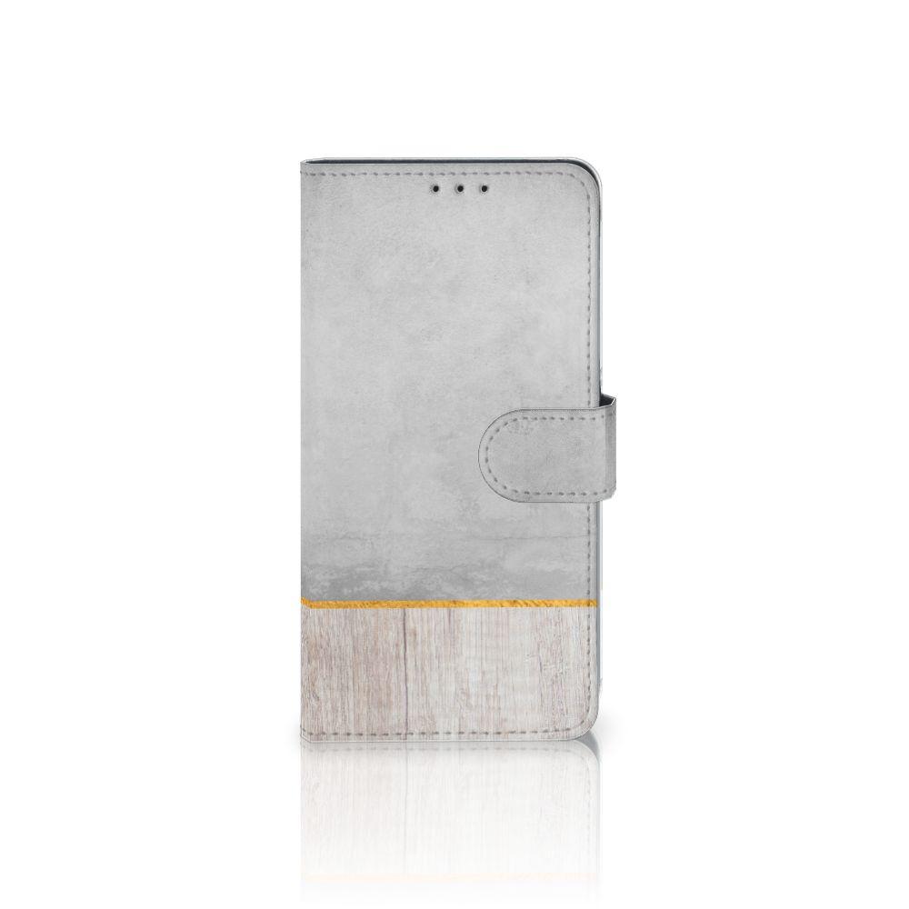 Samsung Galaxy A8 Plus (2018) Uniek Boekhoesje Wood Concrete