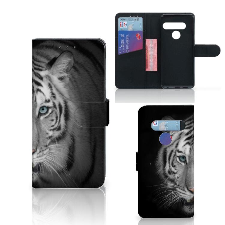 LG G8s Thinq Telefoonhoesje met Pasjes Tijger