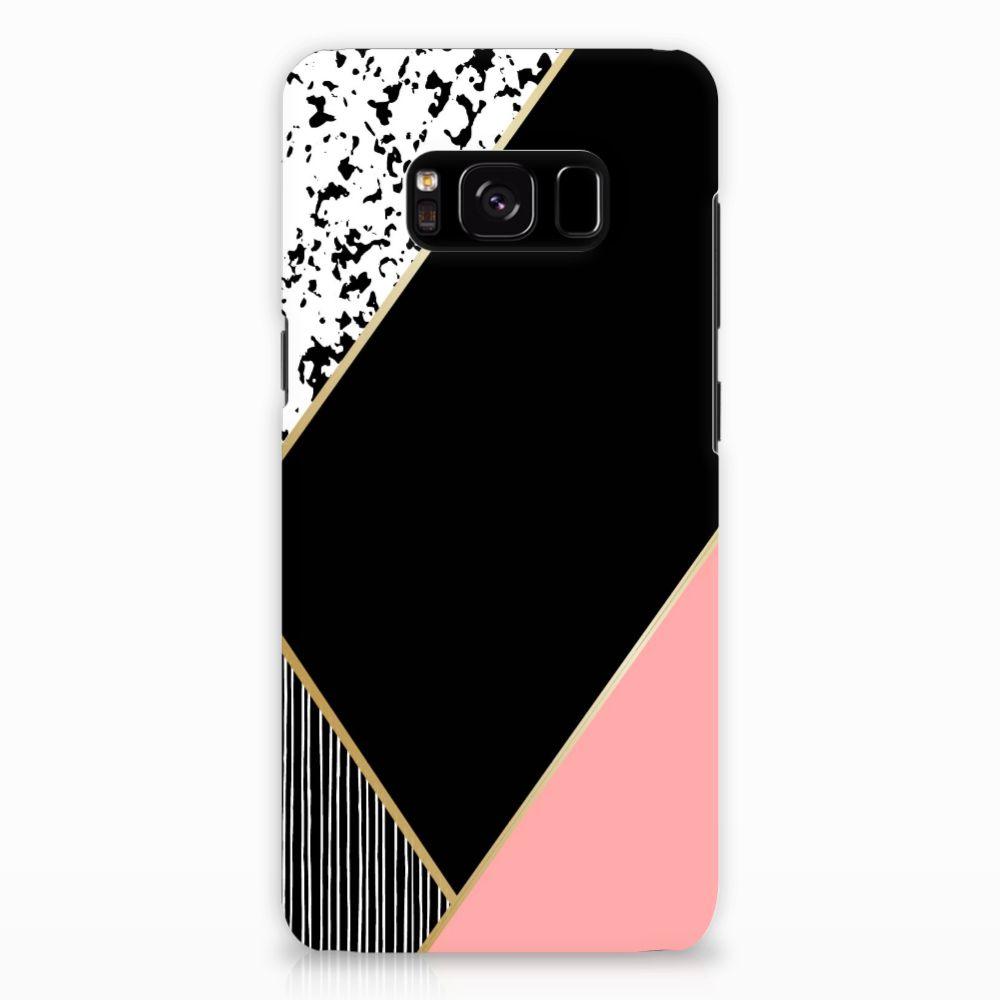 Samsung Galaxy S8 Rubber Case Zwart Roze Vormen