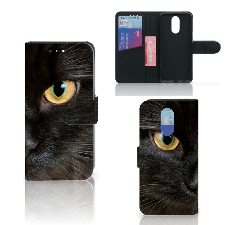 LG Q7 Telefoonhoesje met Pasjes Zwarte Kat