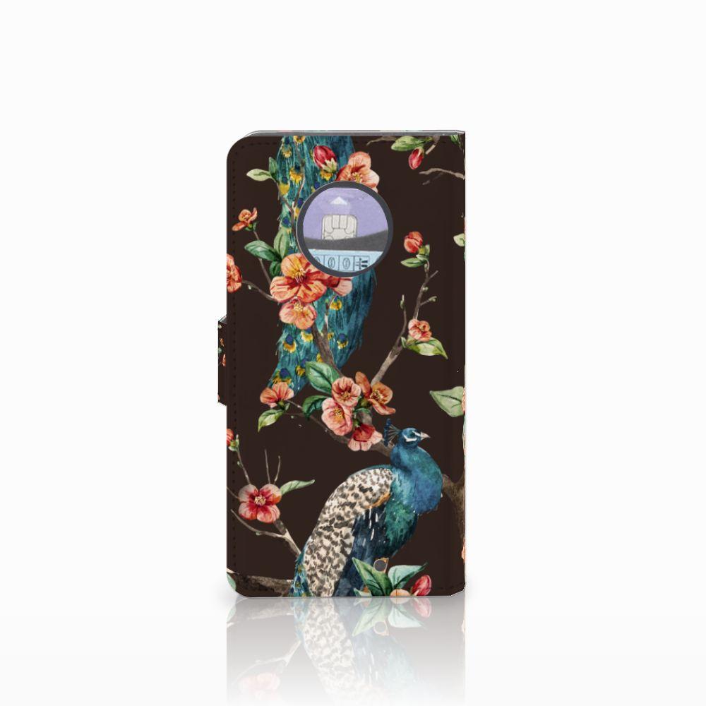 Motorola Moto X4 Telefoonhoesje met Pasjes Pauw met Bloemen