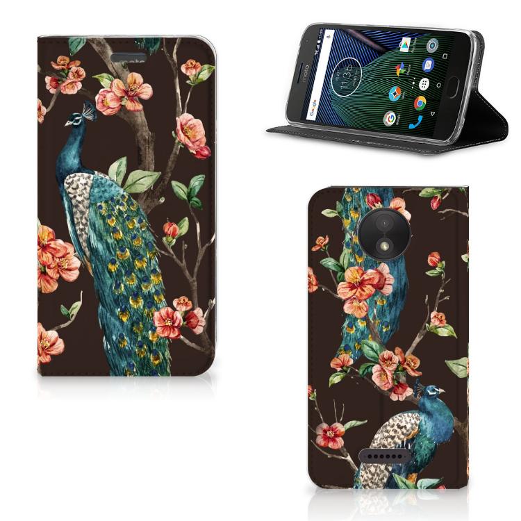Motorola Moto C Plus Hoesje maken Pauw met Bloemen