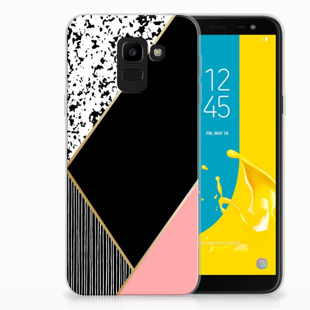 Samsung Galaxy J6 2018 Uniek TPU Hoesje Black Pink Shapes