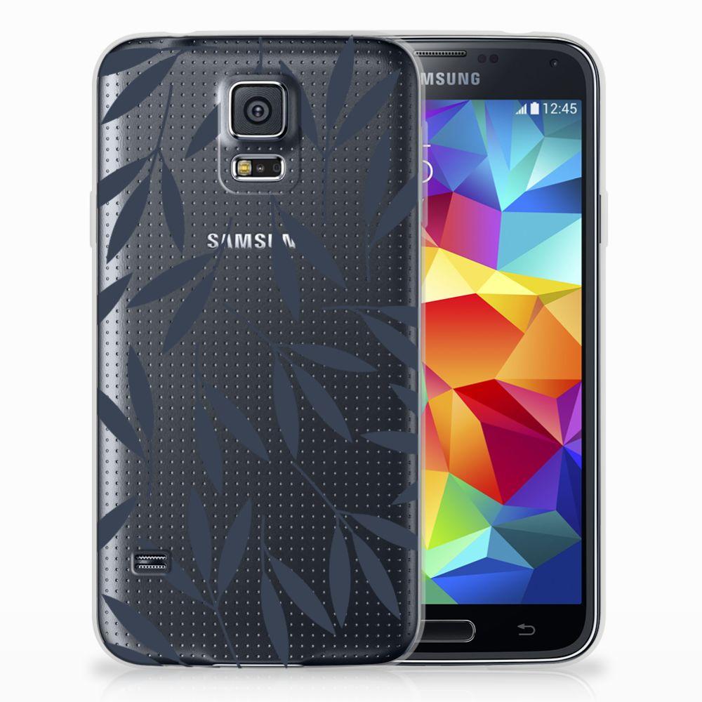Samsung Galaxy S5 TPU Hoesje Design Leaves Blue