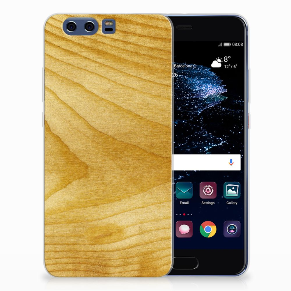 Huawei P10 Plus Uniek TPU Hoesje Licht Hout