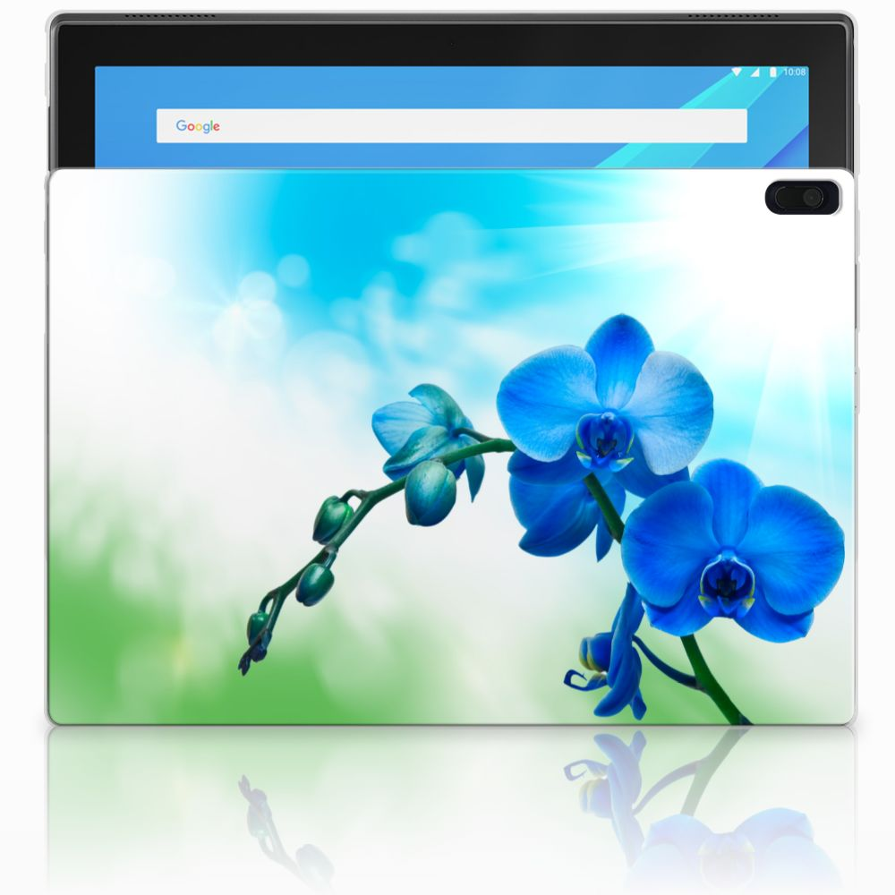 Lenovo Tab 4 10.1 Tablethoesje Design Orchidee Blauw