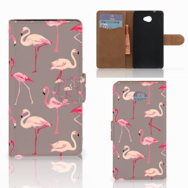 HTC Desire 601 Telefoonhoesje met Pasjes Flamingo