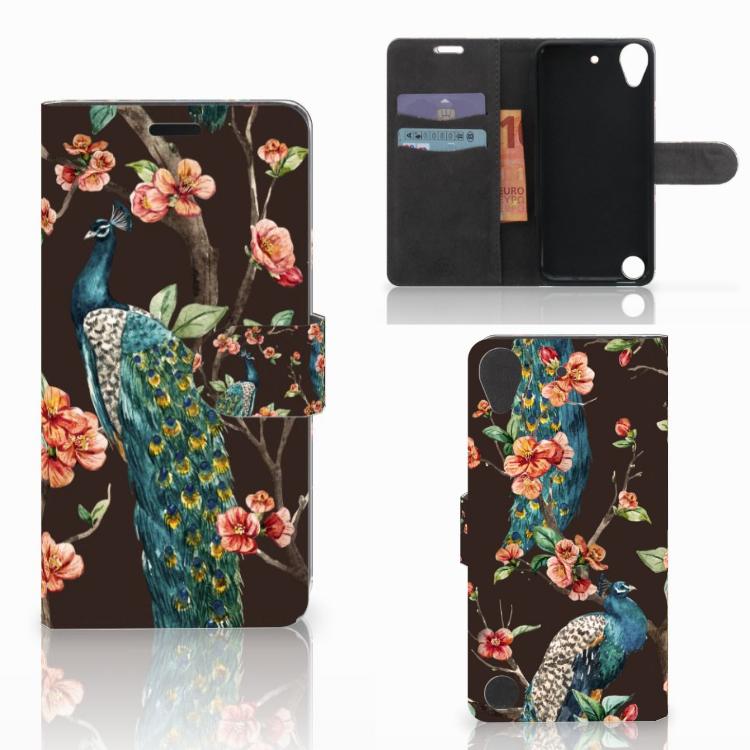 HTC Desire 530 Telefoonhoesje met Pasjes Pauw met Bloemen