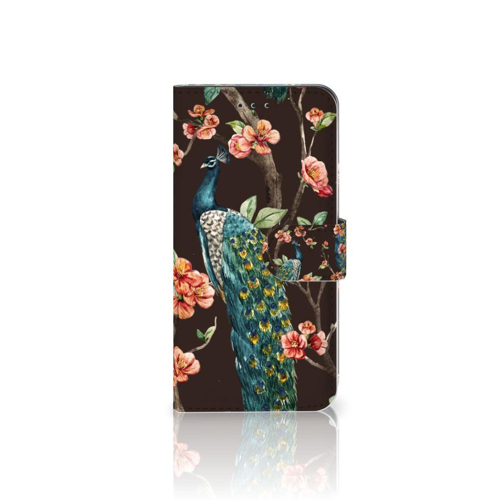 Nokia 7.1 Boekhoesje Design Pauw met Bloemen