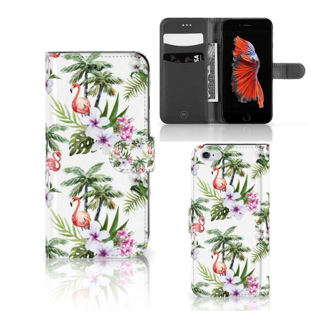 Apple iPhone 6 Plus | 6s Plus Telefoonhoesje met Pasjes Flamingo Palms