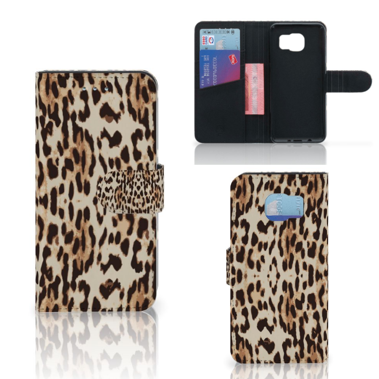 Samsung Galaxy S6 | S6 Duos Telefoonhoesje met Pasjes Leopard