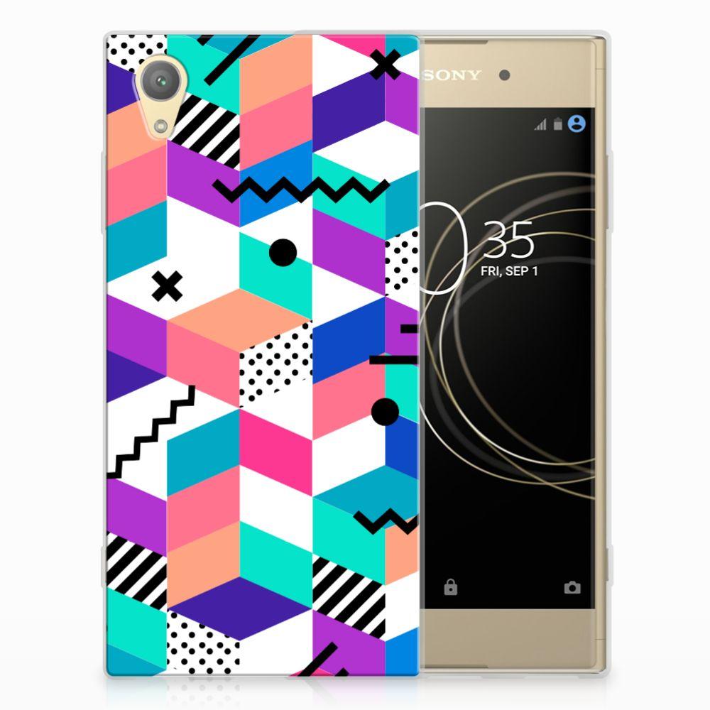 Sony Xperia XA1 Plus TPU Hoesje Blokken Kleurrijk