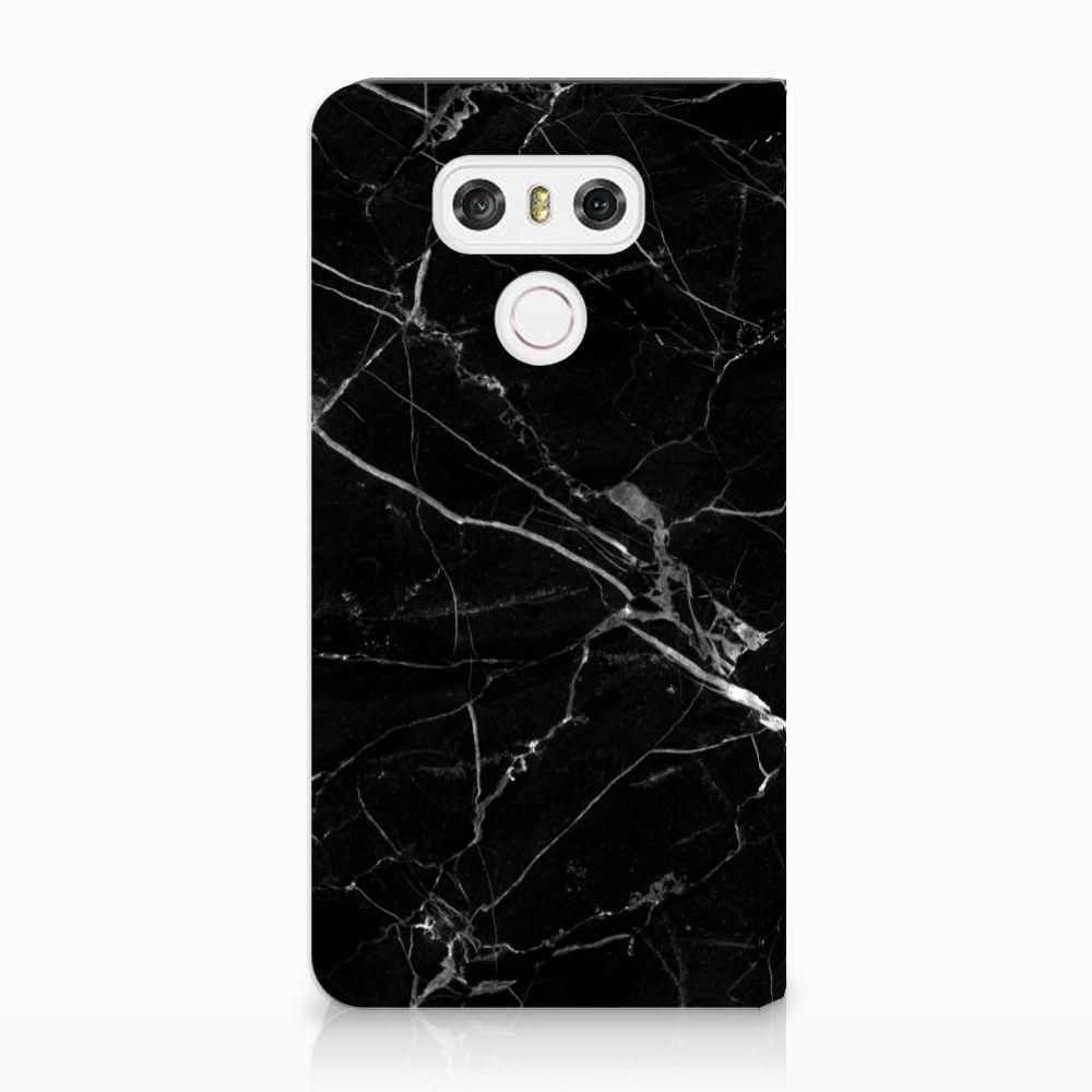 LG G6 Uniek Standcase Hoesje Marmer Zwart
