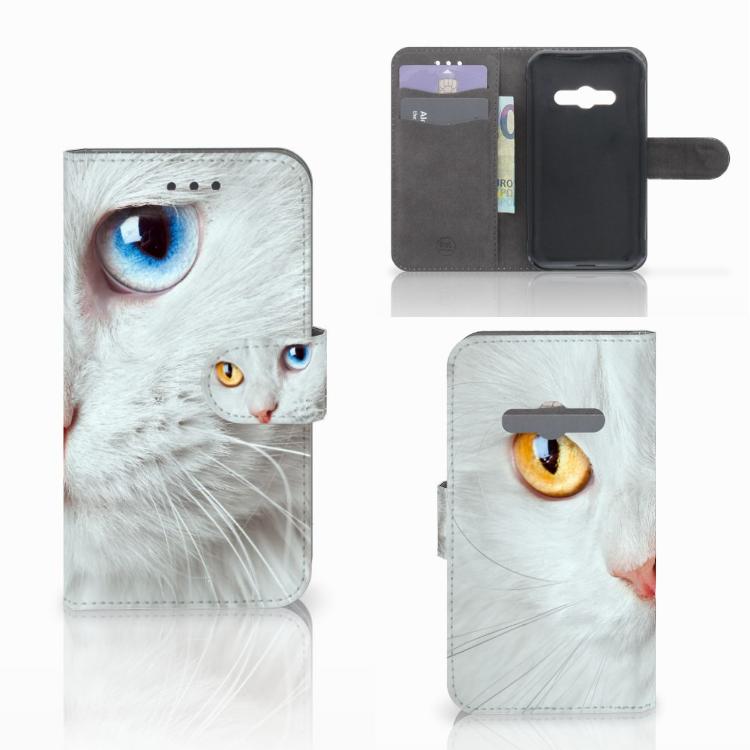 Samsung Galaxy Xcover 3 | Xcover 3 VE Telefoonhoesje met Pasjes Witte Kat