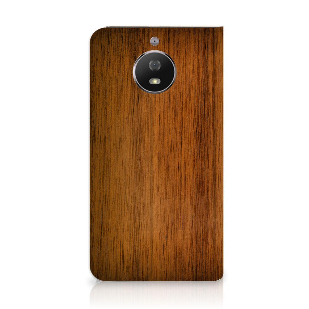 Motorola Moto G5S Uniek Standcase Hoesje Donker Hout