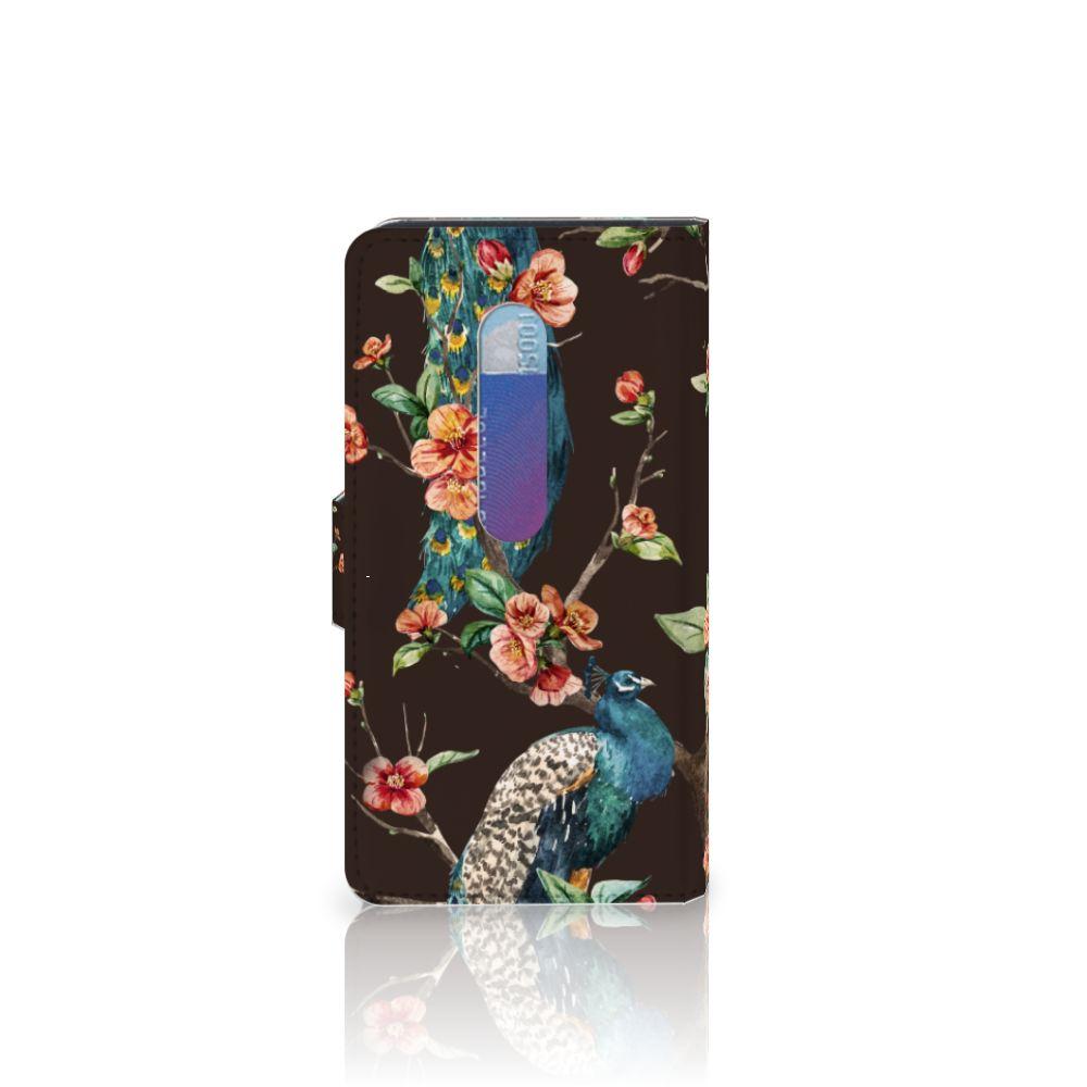 Motorola Moto G 3e Generatie Telefoonhoesje met Pasjes Pauw met Bloemen