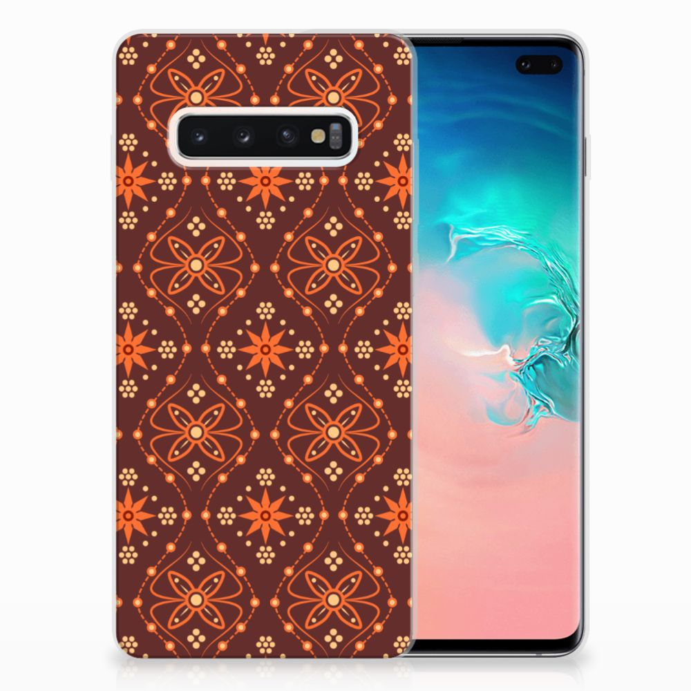 Samsung Galaxy S10 Plus TPU bumper Batik Brown