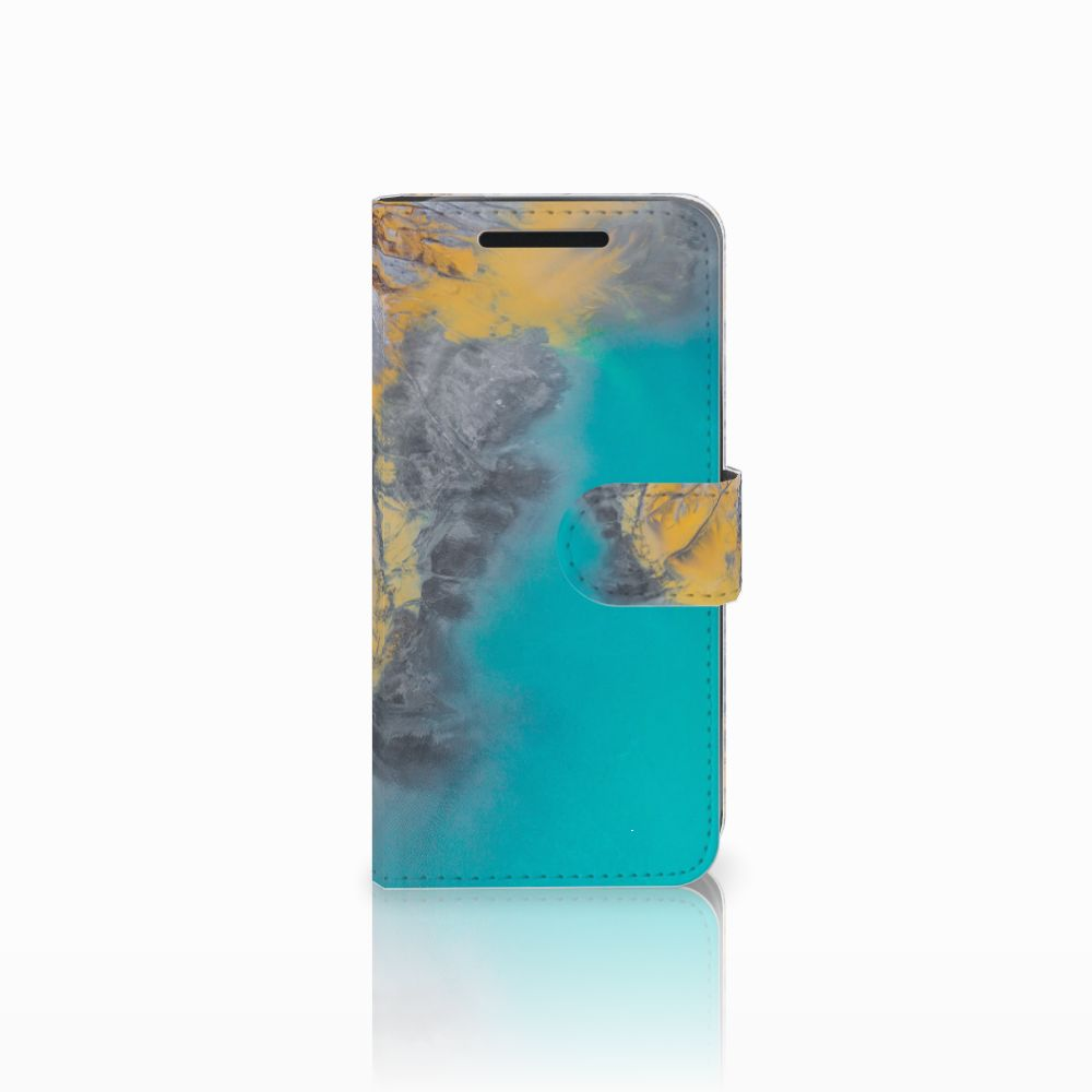 HTC One M9 Bookcase Marble Blue Gold