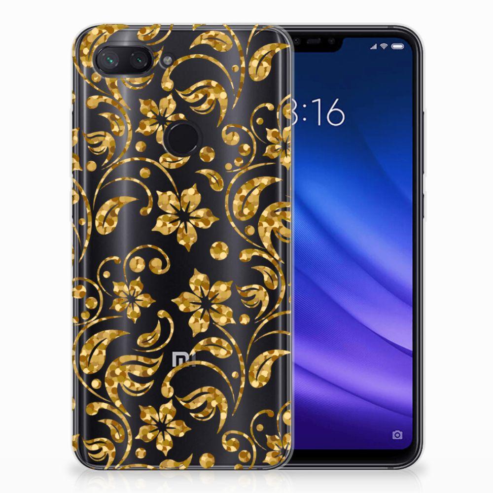 Xiaomi Mi 8 Lite TPU Hoesje Design Gouden Bloemen