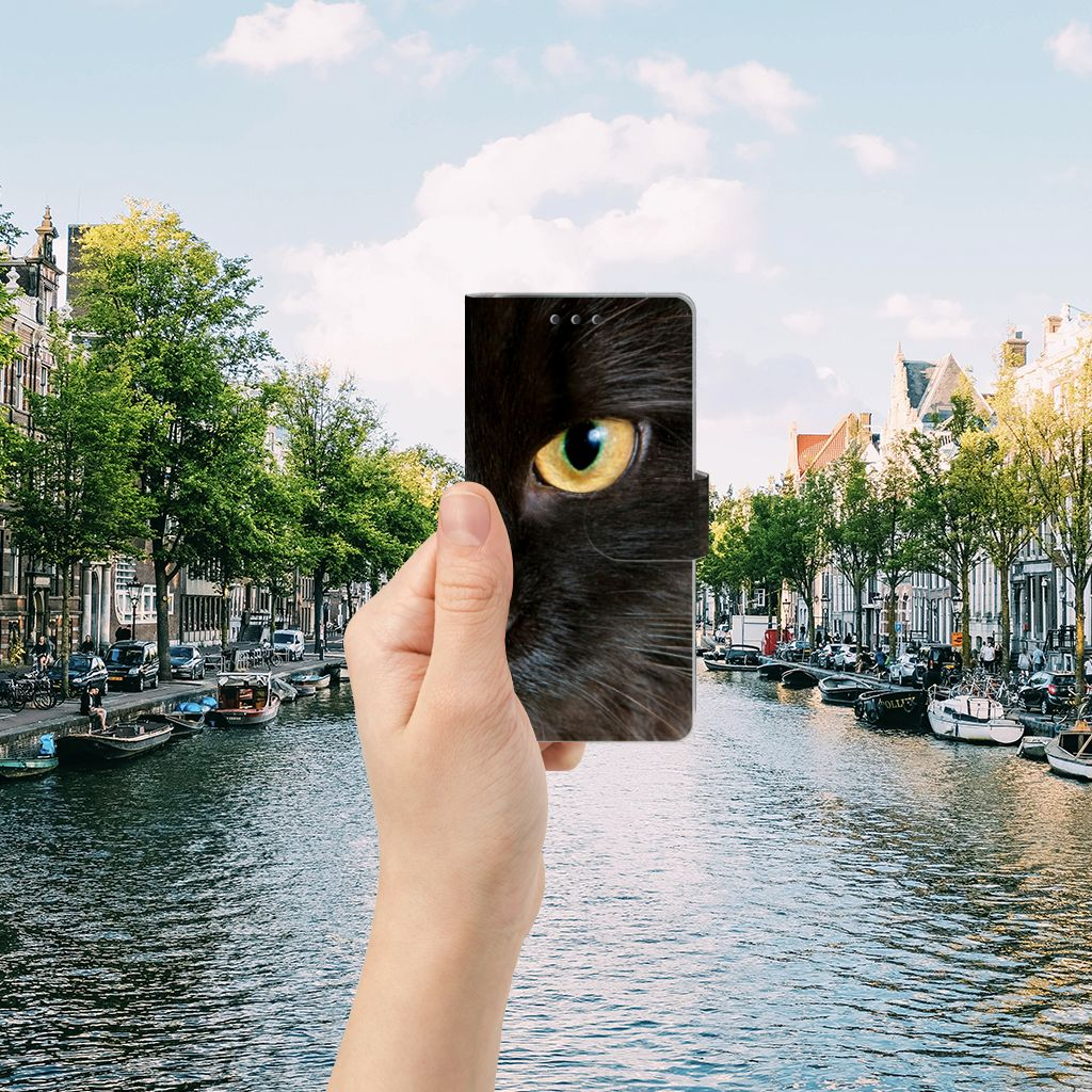 Sony Xperia X Performance Telefoonhoesje met Pasjes Zwarte Kat