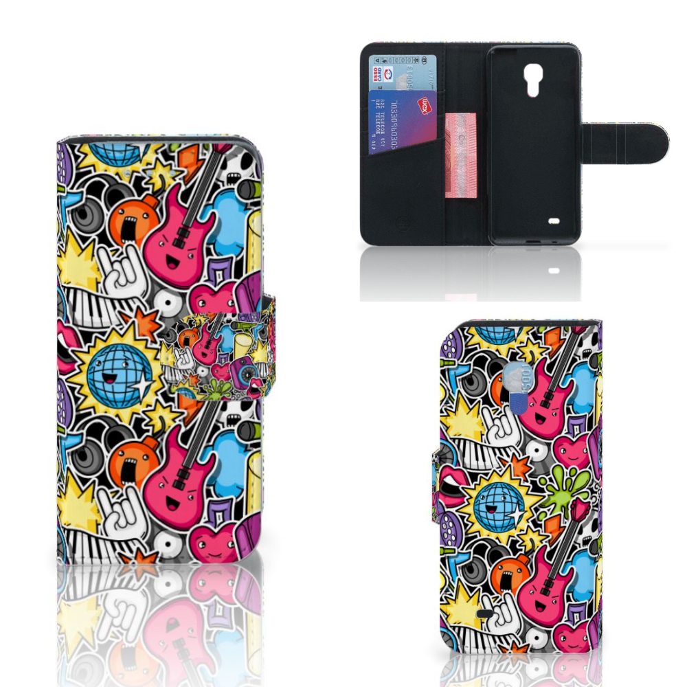Samsung Galaxy S4 Mini i9190 Wallet Case met Pasjes Punk Rock
