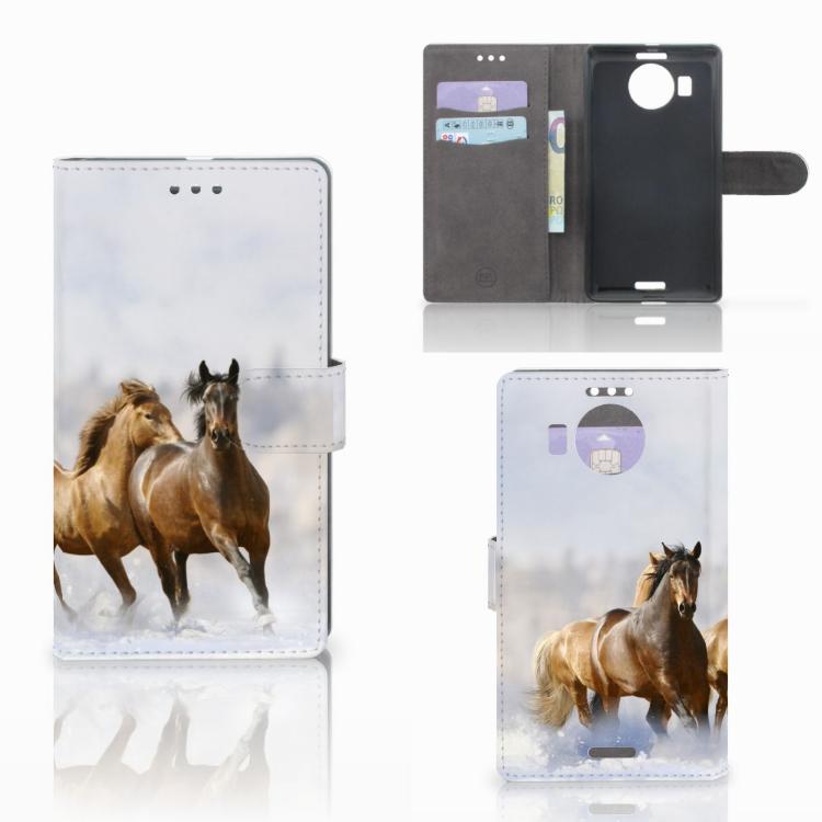 Microsoft Lumia 950 XL Telefoonhoesje met Pasjes Paarden
