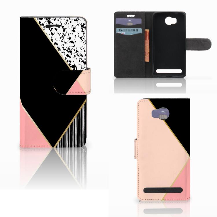 Huawei Y3 2 | Y3 II Bookcase Zwart Roze Vormen