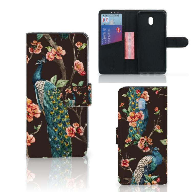 Xiaomi Redmi 8A Telefoonhoesje met Pasjes Pauw met Bloemen