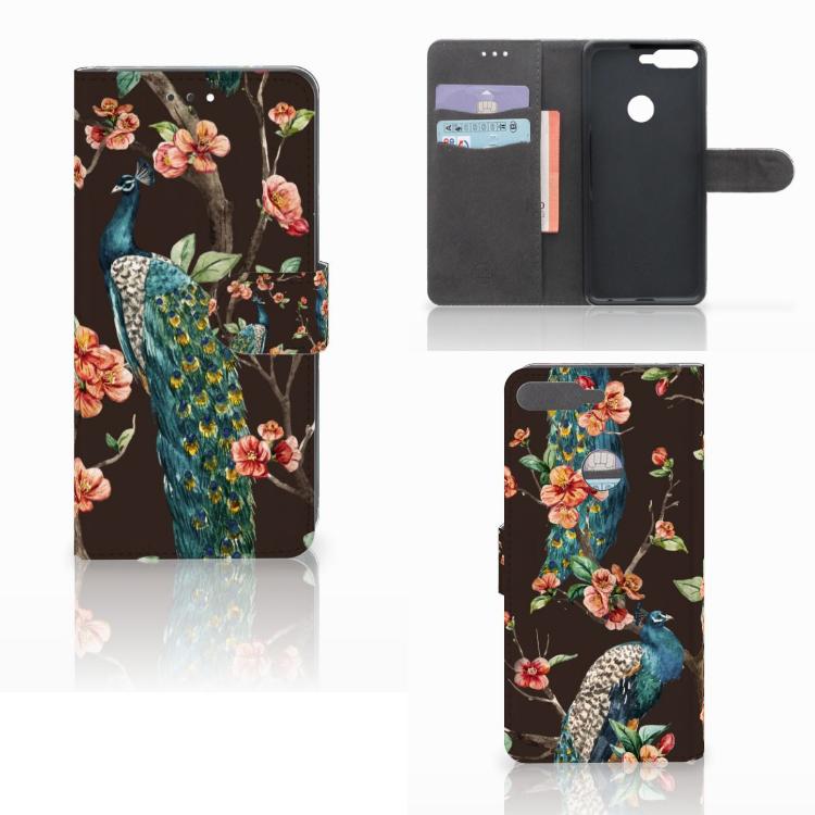 Huawei Y7 2018 Telefoonhoesje met Pasjes Pauw met Bloemen