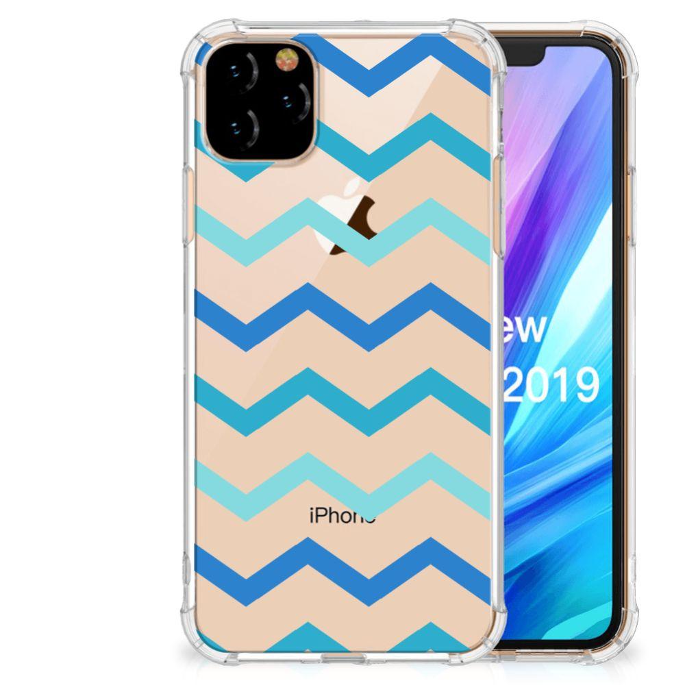 Apple iPhone 11 Pro Max Doorzichtige Silicone Hoesje Zigzag Blauw